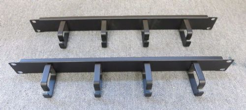 "2 x Cabinet Cable Tidy Bar Vertical Black 4 Ring / Hoops 19"" 1U Data Rack"
